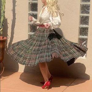 Vintage Christmas scotch plaid midi skirt